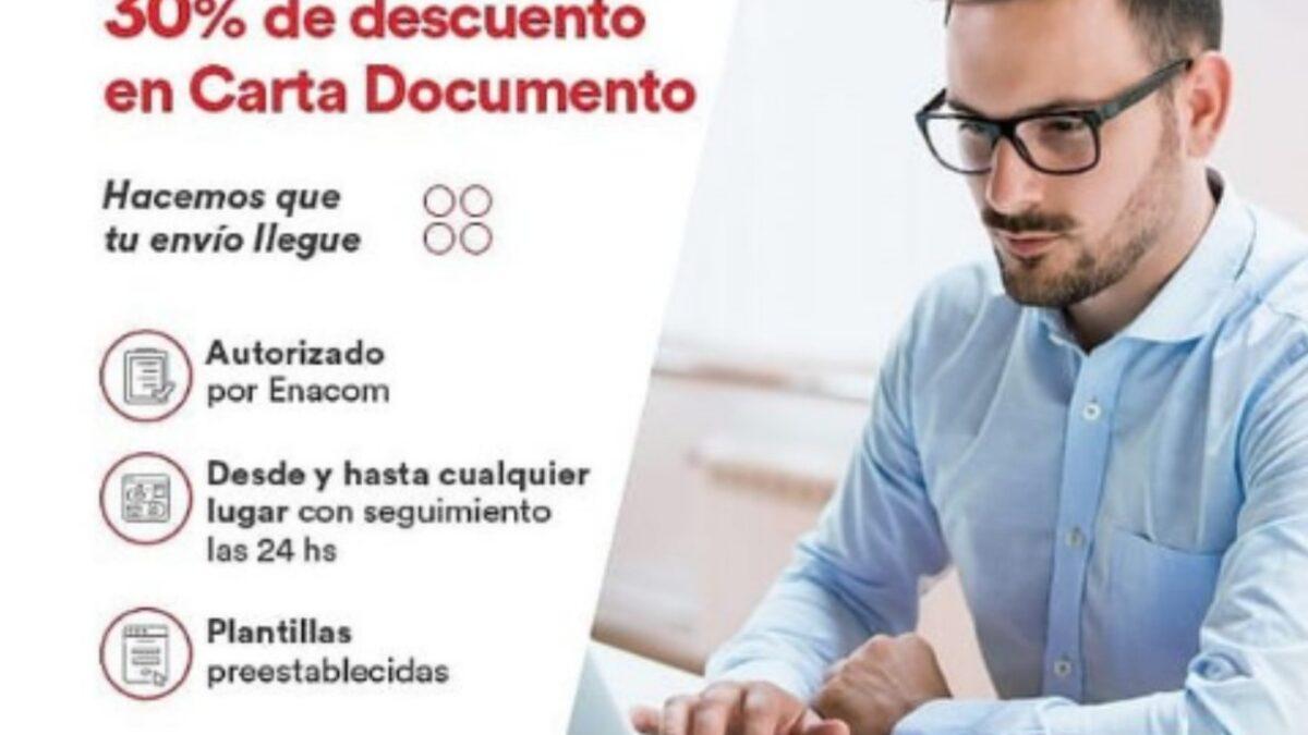 30 % de descuento en cartas documento por Andreani